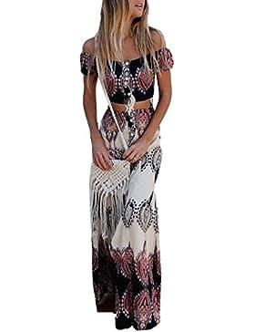 Youngirt Verano Mujer de Dos Piezas Conjunto Maxi Faldas Playa Impresion Boho Beachwear + Conjunto Sexy Cuello...