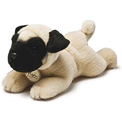 Miyoni - Perro Pug de peluche, 21 cm, color canela y negro (Aurora World 13131)