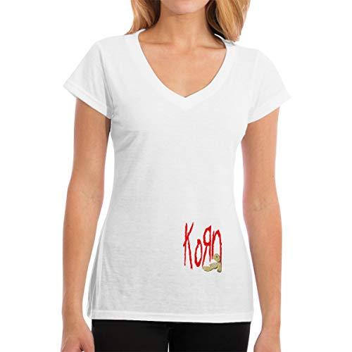 Apparel Frauen T-Shirt mit V-Ausschnitt Lässig Korn Bedrucktes Kurzarm-T-Shirt Tops Trendy -