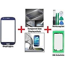 iTech Germany PREMIUM Pantalla de cristal kit de reparación para Samsung Galaxy S3 Mini Azul + Panel frontal táctil i8190 i8195 i8200 LTE + Protector en vidrio templado, 3M Adhesivo y Herramientas