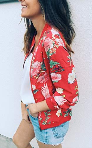 ECOWISH Damen Casual Jacke Blumenmuster Langarm Bomberjacke Reißverschluss Stehkragen Outwear Kurz Coat Herbst Frühling Rot S - 2