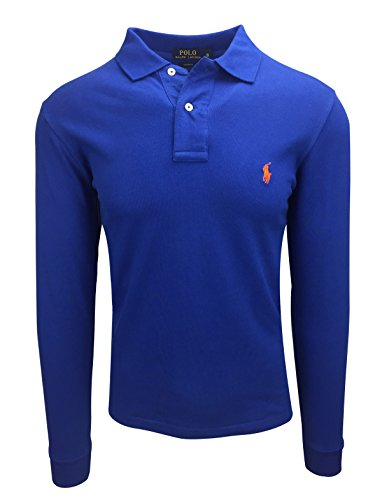 Blau L/s Polo (Ralph Lauren Polo Herren Langarm Small Pony Custom Fit S-M-L-XL-XXL Outlet, Farbe:Royal, Größe:L)