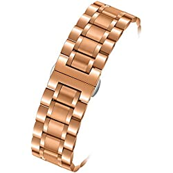 17mm Women's Luxurious 316L Rose Gold Stainless Steel Metal Watch Wristbands Straps Straight End Quick Release Clasp