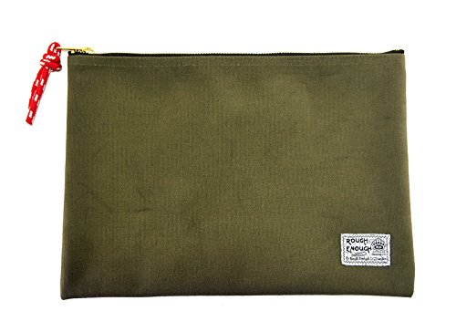 Rough Enough 12.5 X 8.8 Inches Heavy Canvas Fancy Vintage Document Folder Holder (Army Green) by ROUGH ENOUGH
