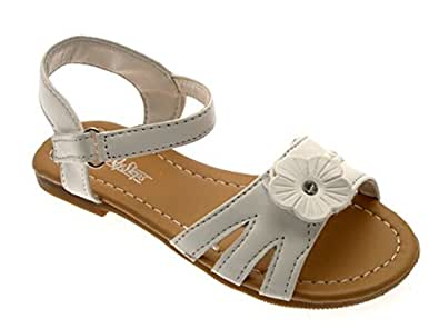 CHILDRENS GIRLS KIDS Hook And Loop FLOWER STRAPPY SUMMER SANDALS OPEN TOE SHOES FAUX LEATHER WHITE 4