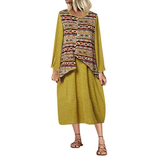 """Deep lovly Frauen Kleid Women's Casual Kleid Rundhalsausschnitt Lange Ã""""rmel Damen Mode Drucken Vintage Abendkleider Business Cocktailkleider Freizeit Party Dress"""