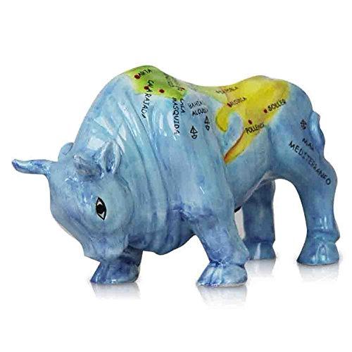 Preisvergleich Produktbild Dolomit Spardose Stier Handbemalt Edler Dolomitstier Motivstier Sparstier Mallorca 28 cm