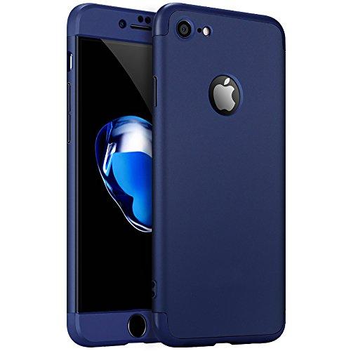 iPhone 6S Custodia, PLECUPE Lusso 3 in 1 Hard Duro PC Case Cover Coperture, Ultra Sottile Thin 360 Gradi della Copertura Completa Anti-Scratch Antiurto Caso Shell per iPhone 6/6S (Rosso) Dark Blue-1