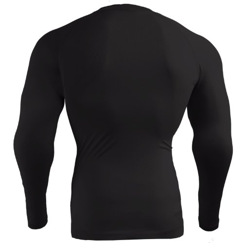 emFraa Homme Femme Sport Compression thermal Base layer Shirt manches longues XS~2XL Black