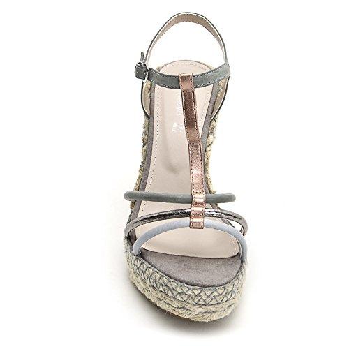 ALESYA by Scarpe&Scarpe - Schuhe mit Keilabsatz und T-Bar Grau
