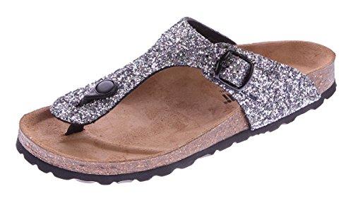 Schwarze Sandalen Aus Leder-multi (Gemini Damen Bio Pantoletten Zehentrenner Glitzer-Effekt Schwarz-Multi Sandalen Leder-Kork-Fußett Schuhe Latschen 37)