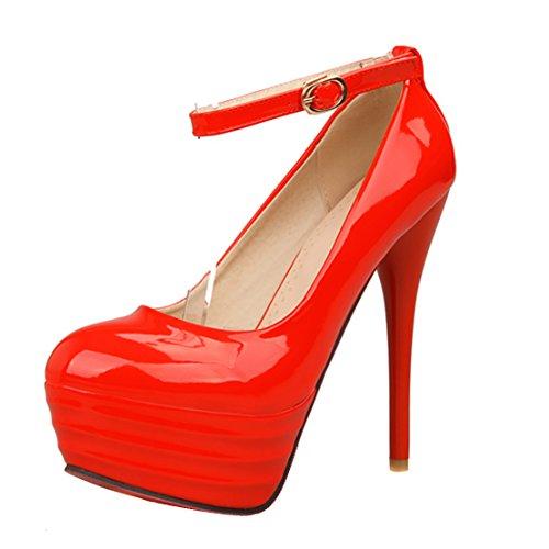 60de3a2c9a569c AIYOUMEI Damen Lack Geschlossen Knöchelriemchen Plateau Pumps Extrem High  Heel Stiletto Schuhe Rot