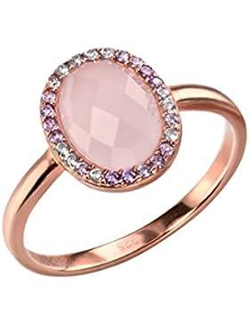 Elements Silver Ring Sterling-Silber mit Rotgold vergoldet Rosenquarz und Zirkonia oval