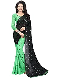 Desi Hault Women's Printed Georgette Saree New Collection With Blouse Piece In Black Green Color