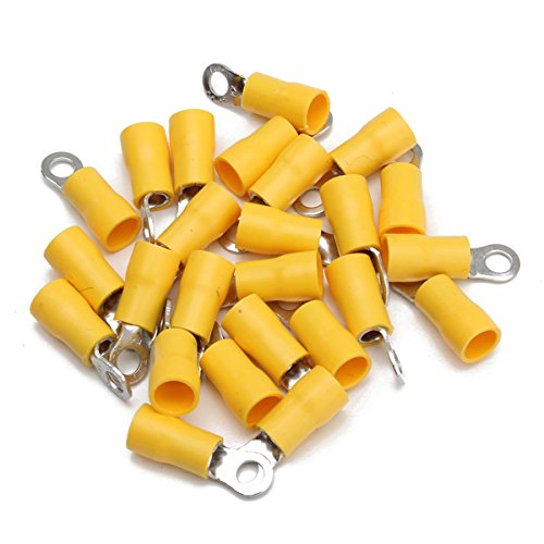 ExcLent 25pcs Yellow Rubber PVC Terminals Insulated Ring Connector 4.0-6.0mm²-M6-0-BA)-6.4MM (Terminals Ring Connectors)