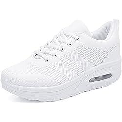 Zapatos para Mujer Cuña Cómodos Mocasines Mesh Plataforma Zapatillas Sneaker Calzado Deportivo de Exterior de Mujer Zapatilla de Deporte Blanco 37 EU