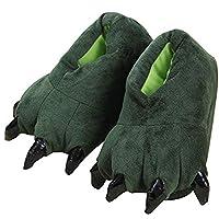 Mattelsen Dinosaur Slippers Kids Boys Girls Winter Warm Fluffy Plush Cozy Plush House Shoes Cartoon Design One Size for EU 23-34