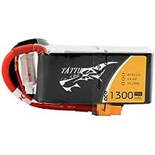 Tattu - Batería de polímero de litio de 1300mAh, 14.8V, 75C 4S1P con conector XT60 para drones UAV, cuadricópteros FPV de carreras, aviones como TBS Gemini, Lumenier , ZMR250