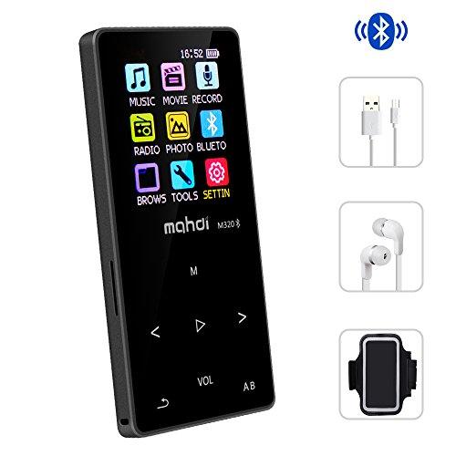 Olycism Tragbare 16GB Bluetooth MP3 Musik Player Sport Bluetooth MP4 mit Eingebautem Lautsprecher und Armband, FM Radio Funktion, Diktiergerät, Video, E-Book, Unterstützt 128GB TF Speicherkarte inklusive kopfhörer und USB kabel
