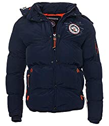 Geographical Norway Men's Winter Quilted Jacket Parka Verveine Hooded Navy L