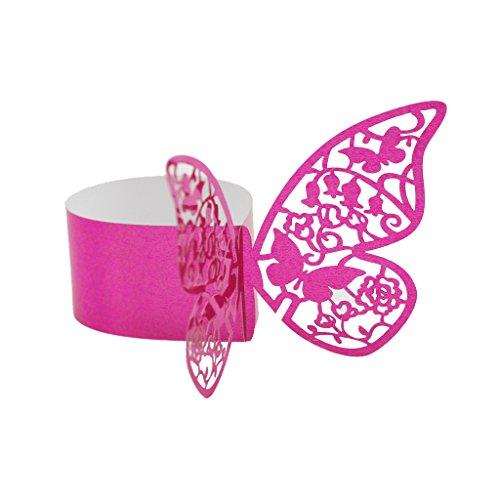 50pcs Papillon Anneau Rond de Serviette Boucle Décoration de Table de Mariage - Rose Rouge