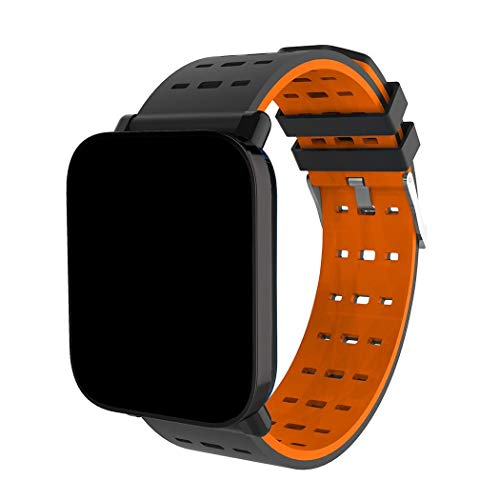 Aikrun Casual Multifunction Analogue-Digital Bluetooth Black Dial Square Shape Waterproof LCD Screen Buckle Closure Unisex Smartwatch (Orange)