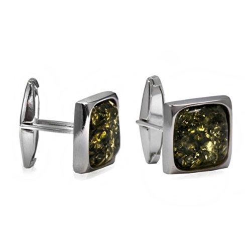 Grüner Bernstein Sterling Silber Mittelgroße Quadratisch Manschettenknöpfe