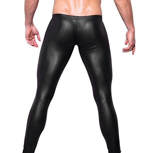 West See Herren Lederhose Leggings Stretch Pants Unterhose Tight WetLook Schwarz (DE M(Etikette L), Schwarz) - 3