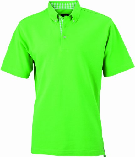 James & Nicholson Herren Poloshirt Poloshirt Men's Plain grün (lime-green/lime-green-white) X-Large
