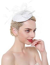 ZYCC Cappelli Fascinator Cappello per portapillole in velo piuma di maglia  da donna Copricapo da cerimonia per il… fac9e99403ff