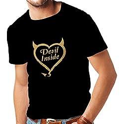 Camisetas Hombre Devil Inside Disfraces de Diablo Ropa Divertida, Regalos para Jugadores, Eslogan Genial (XX-Large Negro Oro)