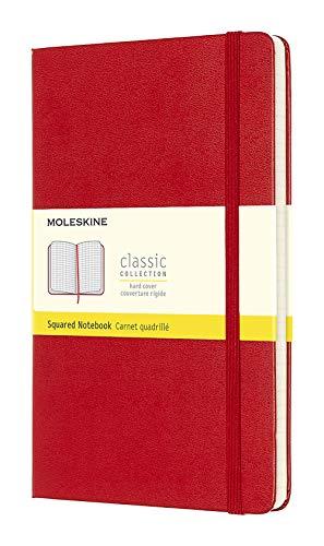 Moleskine - Cuaderno Clásico con Páginas Cuadriculada, Tapa Dura y Goma Elástica, Color Rojo Escarlata, Tamaño Grande 13 x 21 cm, 240 Páginas