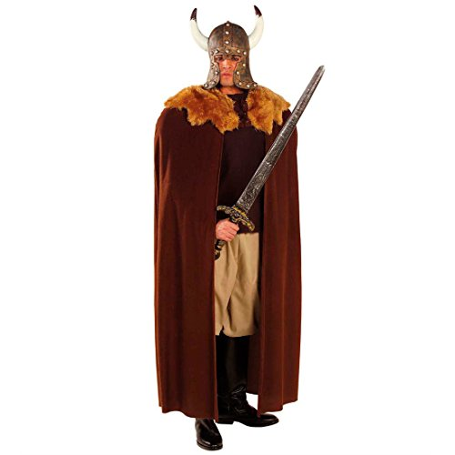 aren Cape mit Fellkragen Normanne Germane Nordmann Viking Mantel Fasching Halloweenumhang Mittelalter Seeräuber Jacke Halloween Vampirumhang Piraten Mottoparty Verkleidung Karneval Kostüm Zubehör ()