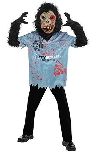 s unheimlich gruselig Zombie Schimpanse AFFE Halloween 4 Stück Kostüm Kleid Outfit 8-16 Jahre - 12-14 Years ()