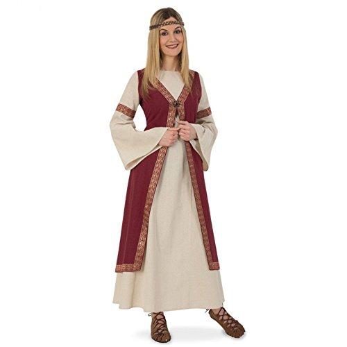 Kleid Mittelalter Kostüm - Mittelalter Kostüm Hofdame Kleid beige/weinrot LARP Kleidung Burgfräulein (M)