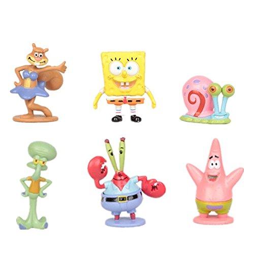 SpongeBob - Bob Esponja y sus amigos - set 6 figuras-con bolsa de plastica- 3-6cm-pequeña