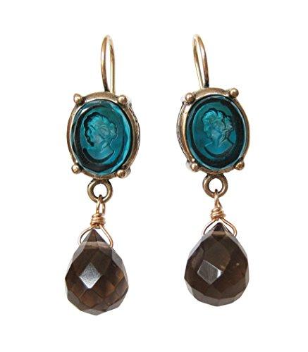 Petrol-farbene Gemmen-Ohrringe Ohrhänger Glas-Gemme grau-brauner Anhänger Tropfen leicht Bronze...
