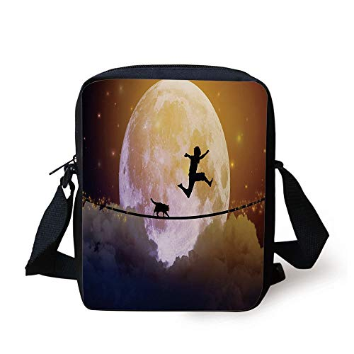 CBBBB Adventure,Boy and a Cat Walking on a Rope in Front of The Full Moon Fantastic Imagery Print Decorative,Multicolor Print Kids Crossbody Messenger Bag Purse - Front Pocket Hobo Bag