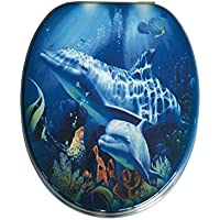ADOB Holzkern WC Sitz Klobrille Motiv Delfin, verstellbare Metallscharniere, 87344