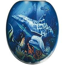 ADOB 87344 - Asiento de inodoro con tapa (madera, bisagras de metal regulables), diseño de delfín