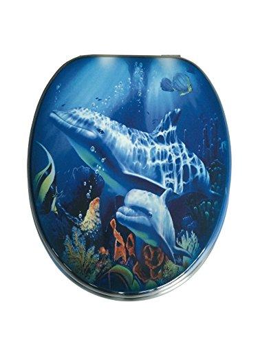ADOB 87344 Holzkern WC Sitz Klobrille Motiv Delfin, verstellbare Metallscharniere