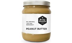 BODY GENIUS Smooth Peanut Butter. Solo cacahuete tostado SIN PIEL. Textura Cremosa. Made in Spain. 1000 gr