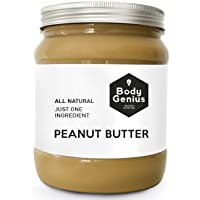 BODY GENIUS Smooth Peanut Butter. Solo cacahuete tostado SIN PIEL. Textura Cremosa. Made in Spain. 1000 gr