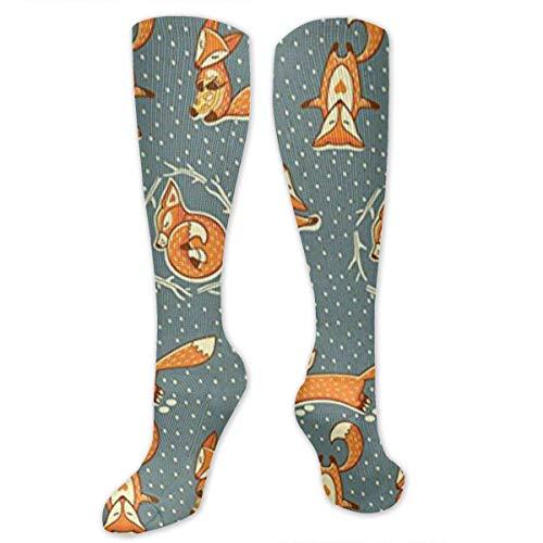 Kotdeqay X-Mas Foxes Women&Men Socken Dress Socken Length 19.7in/Width 3.4in Polyester Material Knee High Socken Girls Socken Mid Stockings Personality Socken -