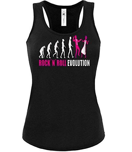 Rock`n`Roll Evolution 2018 Tanzsport Frauen Damen Fun Tank Top Funshirt Tanktop Sportbekleidung Fanartikel Shop shirt tshirt Schwarz aufdruck Pink XL