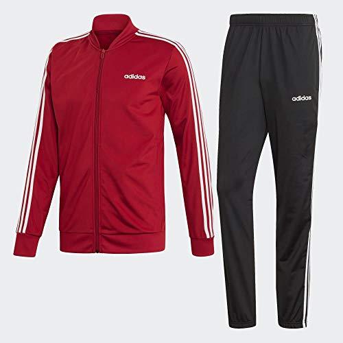 adidas Herren Back to Basics 3-Streifen Trainingsanzug, Active Maroon/Black, 2XL