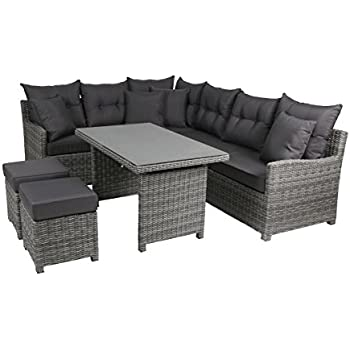 greemotion rattan lounge set melina gartenm bel 5 teilig in bicolor grau mit auflagen. Black Bedroom Furniture Sets. Home Design Ideas