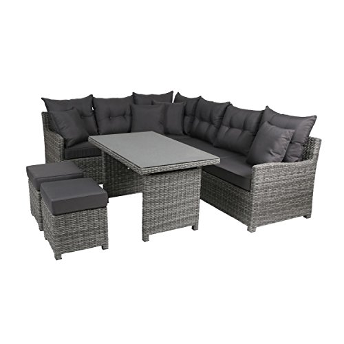 greemotion Miami Comfort in Anthrazit, Design-Loungset Polyrattan für Balkon, Terrasse & Garten,...