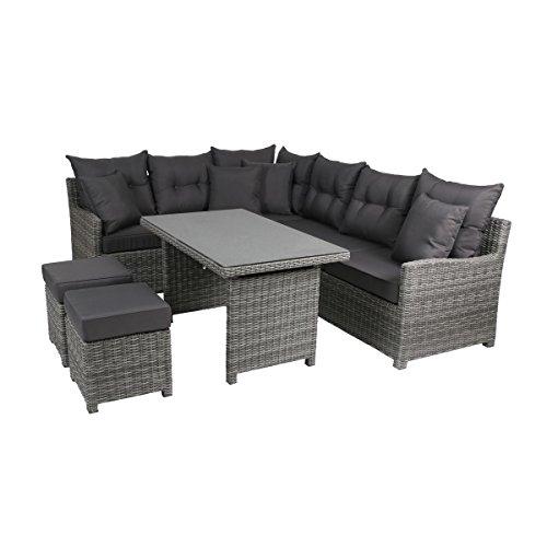 Greemotion Miami Comfort 5-teilig Rattan Lounge-Set, Aluminium, 73 x 192 x 75 cm, grau/ant