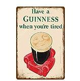 LHCY Vintage Étain Métal Affiche Plaque DécorativeMétal Peinture Signes Ma Bonté Ma Guinness Affiche Vintage Bar Pub Plaque Décorative Décor À La Maison Bière Plaque Publicitaire